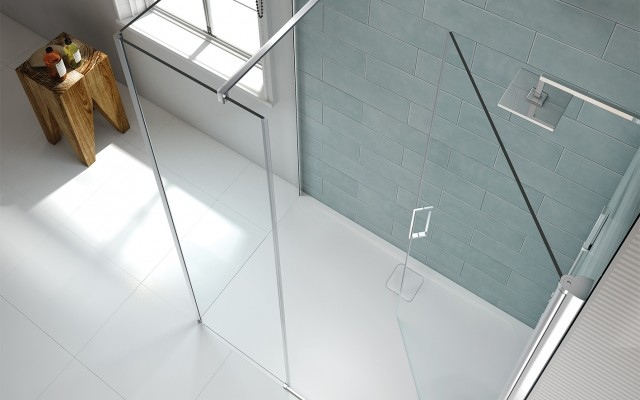 8 Series Frameless Pivot Shower Door With Side Panel